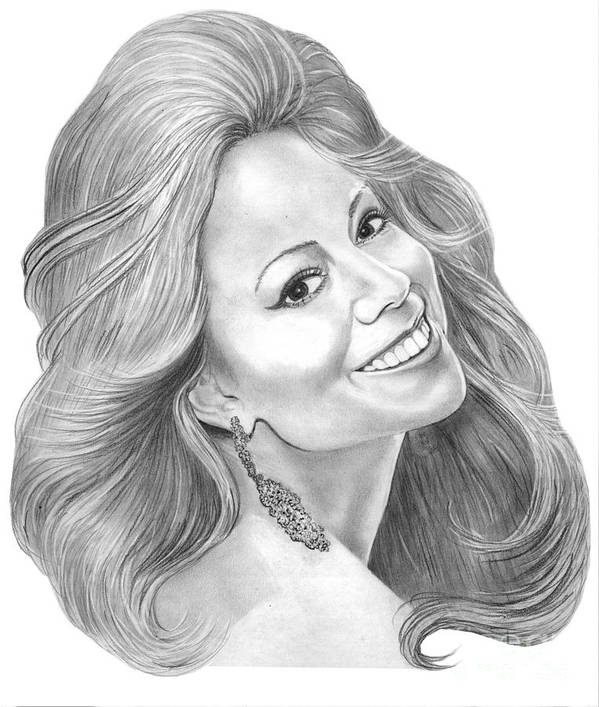 Pencil Art Print featuring the drawing Mariah Carey by Murphy Elliott