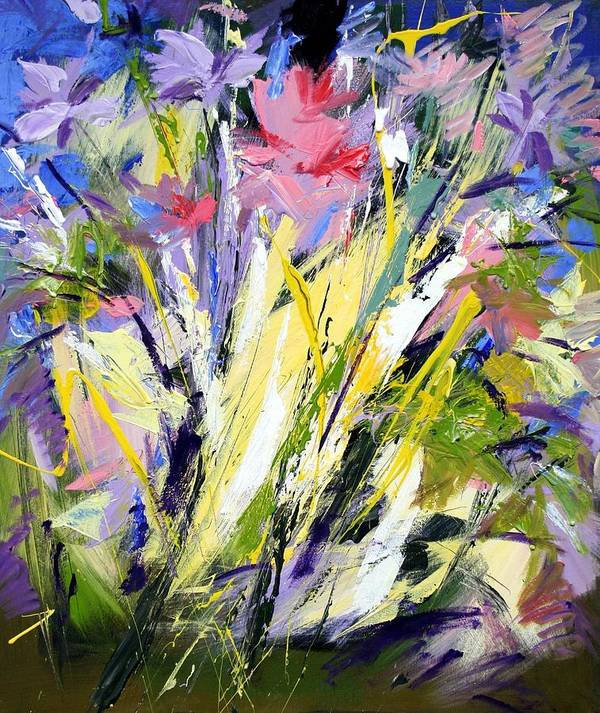 Abstract Flowers Art Print featuring the painting Abstract Flowers by Mario Zampedroni