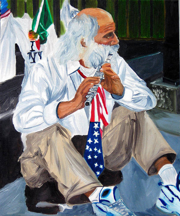 Street Musician Art Print featuring the painting 911 Tribute by Michael Lee