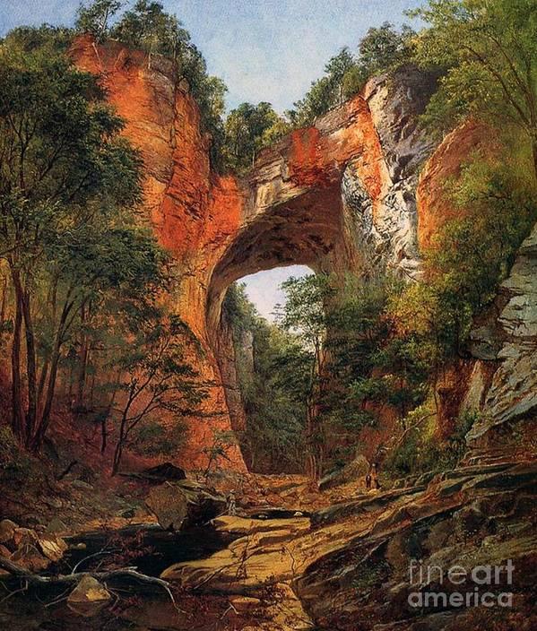 A Natural Bridge Art Print featuring the painting A Natural Bridge In Virginia by David Johnson