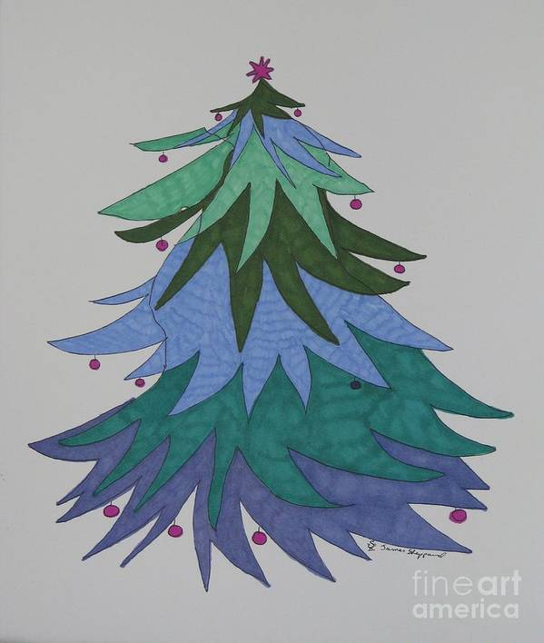 Christmas Tree Art Print featuring the mixed media A Wild Christmas Tree by James SheppardIII
