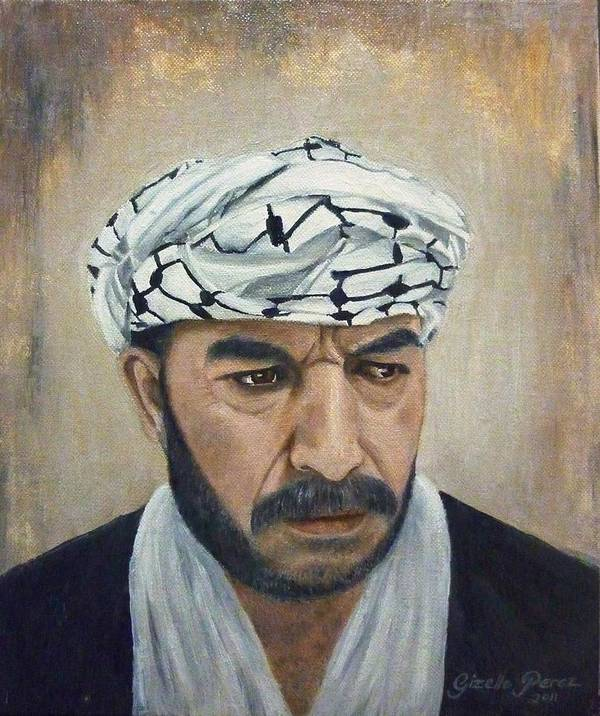 Palestinian Art Print featuring the painting Angry Palestinian by Gizelle Perez