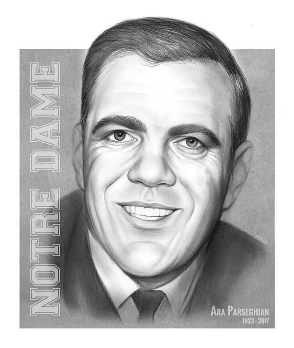 Ara Parseghian Art Print featuring the drawing Ara Parseghian by Greg Joens