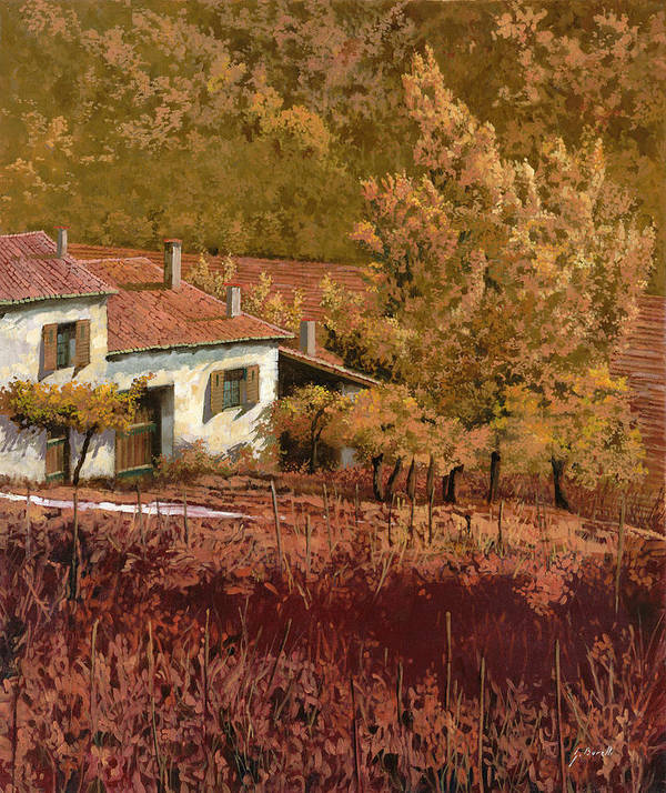 Autumn Art Print featuring the painting Autunno Rosso by Guido Borelli