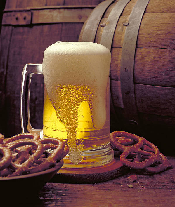 Beer Art Print featuring the photograph Beer And Pretzels by Thomas Firak