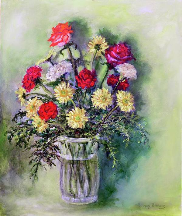 Birthday Art Print featuring the painting Birthday Flowers by Randy Burns