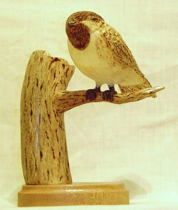 Woodcarving Art Print featuring the sculpture Black-capped Chickadee by Russell Ellingsworth