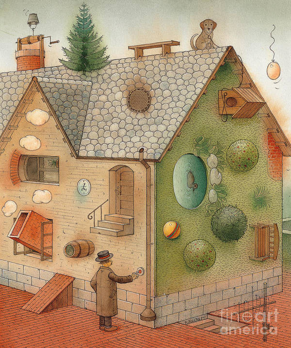 Superstition Home Green Humour Art Print featuring the painting Black Day by Kestutis Kasparavicius