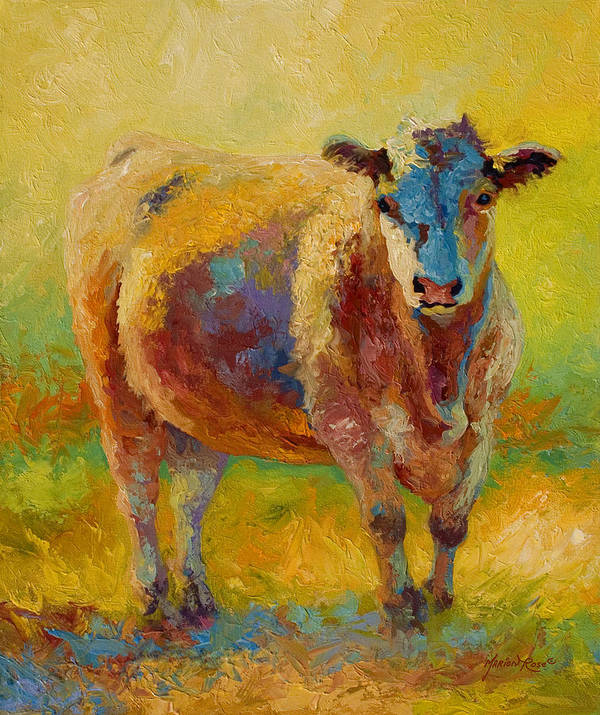 Western Art Print featuring the painting Blondie - Cow by Marion Rose