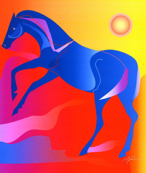 Horse Art Print featuring the digital art Blue Horse by Mary Armstrong