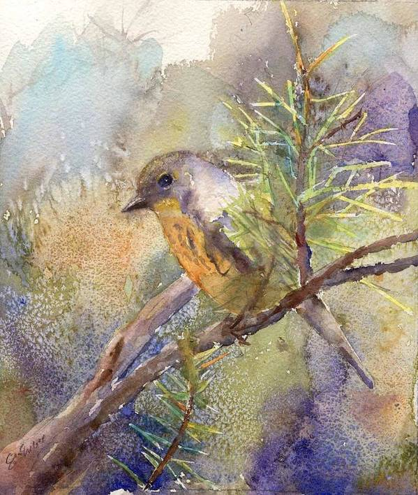 Nature Art Print featuring the painting Bluebird by Elizabeth Evans