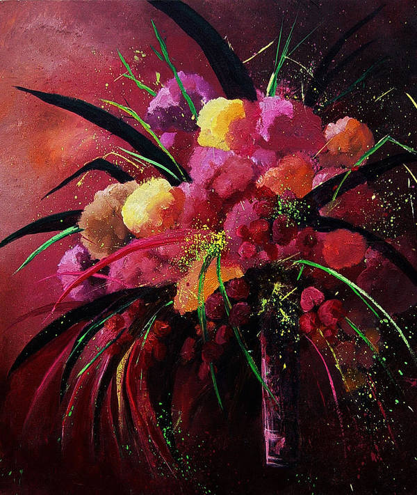 Flowers Art Print featuring the painting Bunch Of Red Flowers by Pol Ledent