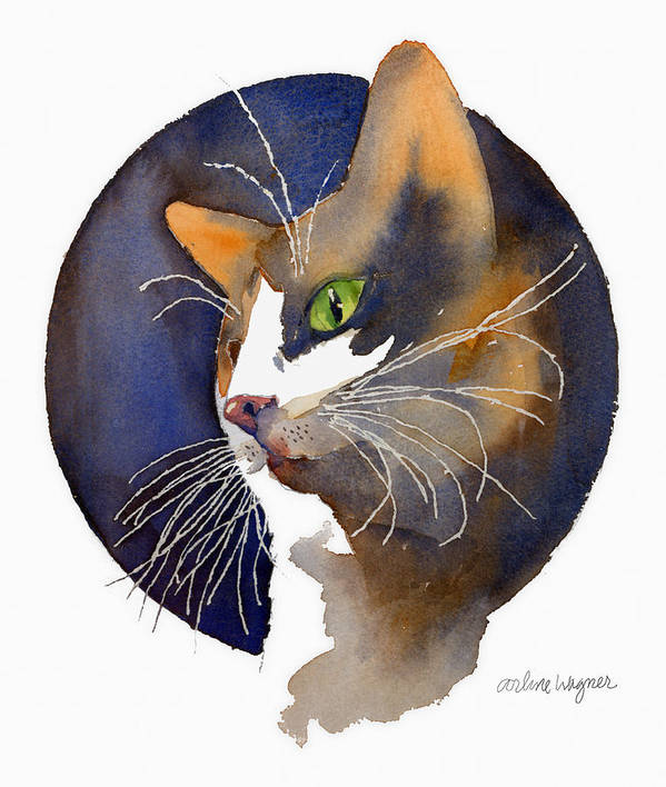 Cat Art Print featuring the painting Calico by Arline Wagner