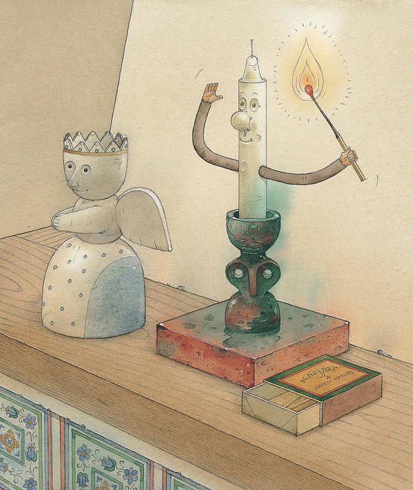 Candle Angel Evening Art Print featuring the painting Candle by Kestutis Kasparavicius