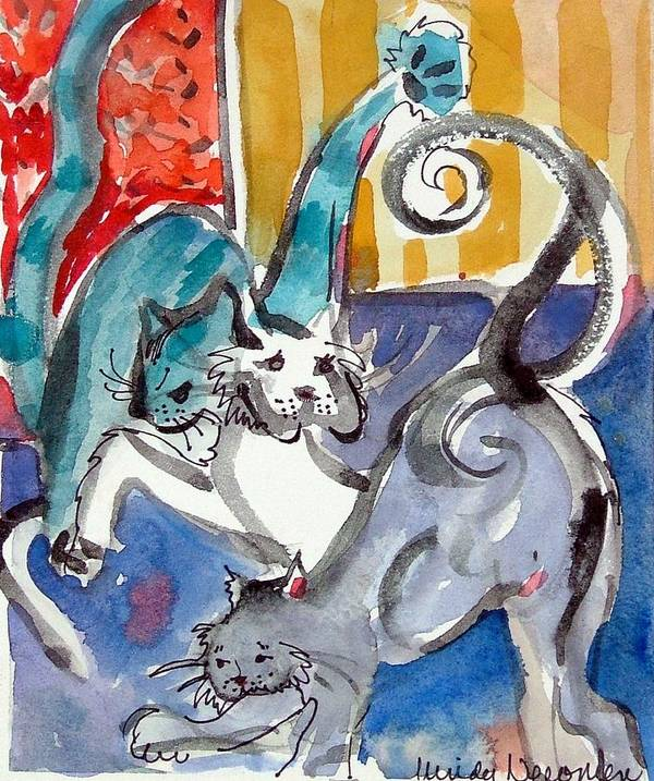 Cat Art Print featuring the painting Cat Fight by Mindy Newman