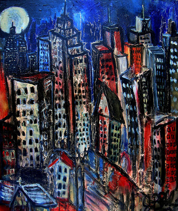 Cityscapes Art Print featuring the painting Caught Between Scylla And Charybdis by Jon Baldwin Art