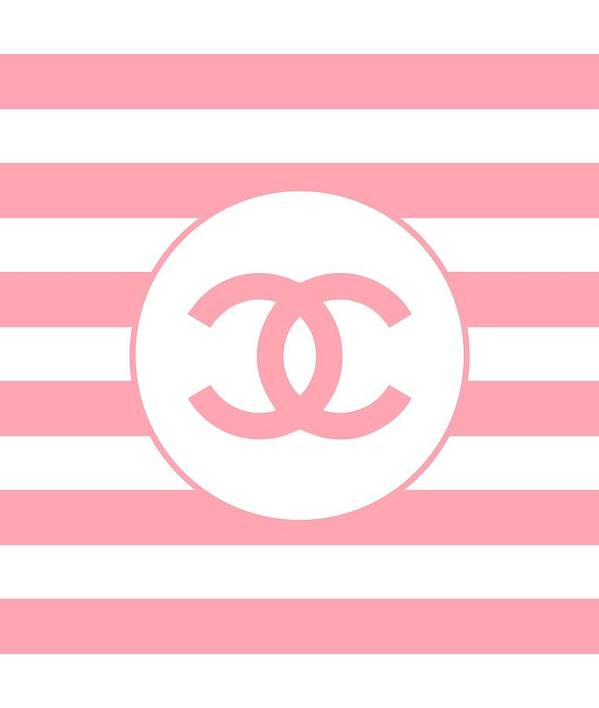 Chanel Art Print featuring the digital art Chanel - Stripe Pattern - Pink - Fashion And Lifestyle by TUSCAN Afternoon