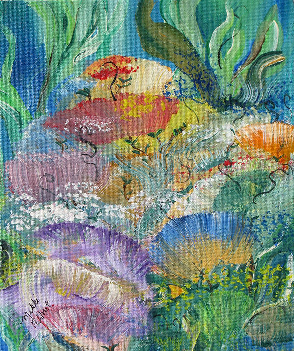 Coral Art Print featuring the painting Coral Fantasy by Mikki Alhart