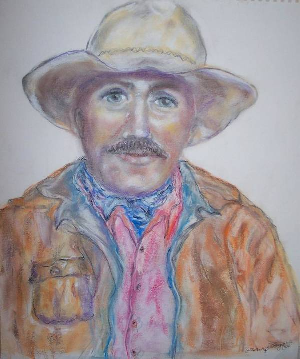 Portrait Of A Cowboy Art Print featuring the drawing Cowboy Jim by Suzanne Reynolds