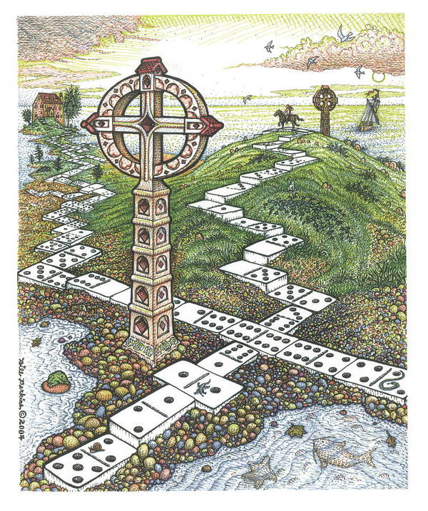 Landscape Art Print featuring the drawing Domino Crosses by Bill Perkins