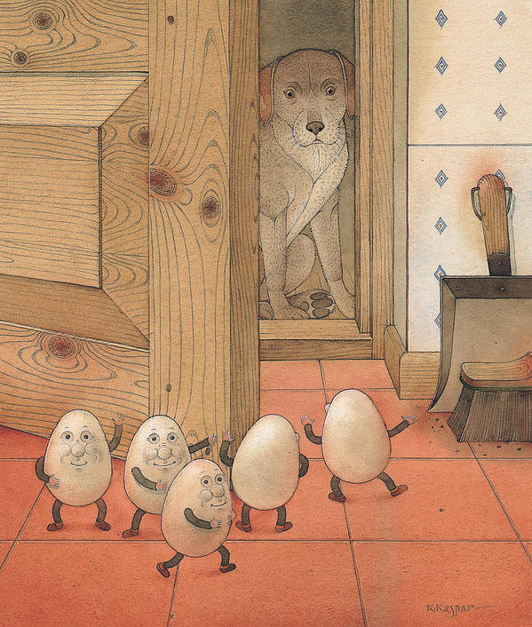 Kitchen Red Brown Dog Eggs Art Print featuring the painting Eggs And Dog by Kestutis Kasparavicius