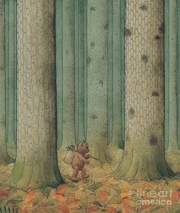 Teddybear Autumn Forest Fairy Tale Tree Melancholic Art Print featuring the painting Exile by Kestutis Kasparavicius