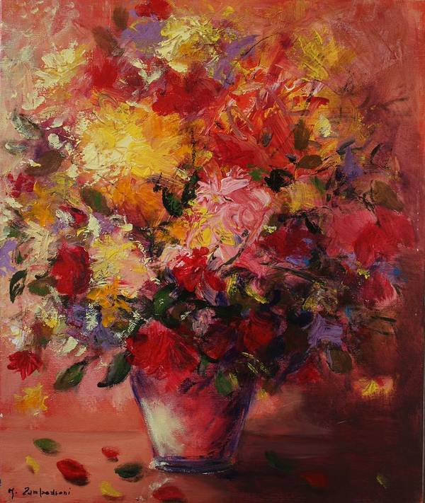 Flower Art Print featuring the painting Flower Pot by Mario Zampedroni