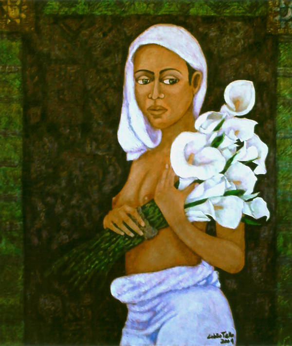 Love Art Print featuring the painting Flowers For An Old Love by Madalena Lobao-Tello