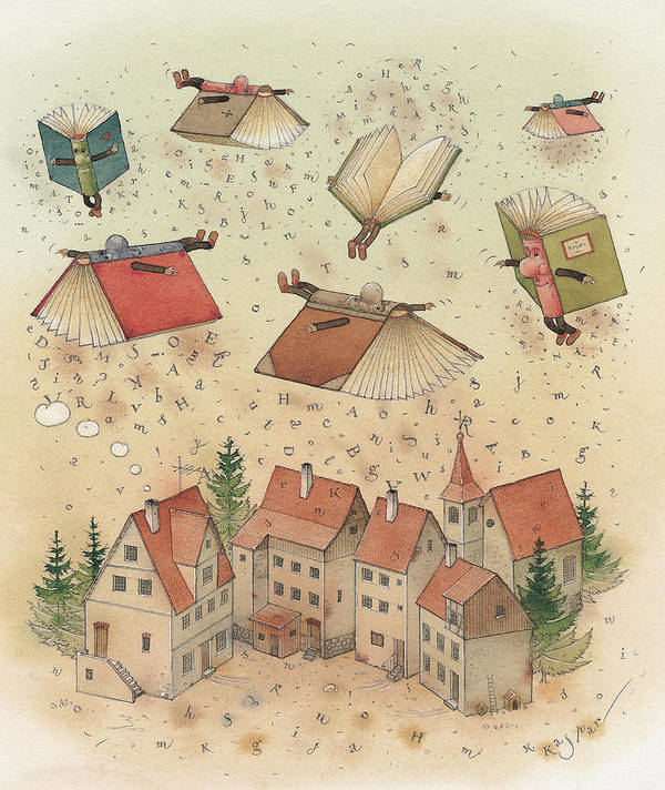 Books Town Flying Alphabet Art Print featuring the painting Flying Books by Kestutis Kasparavicius