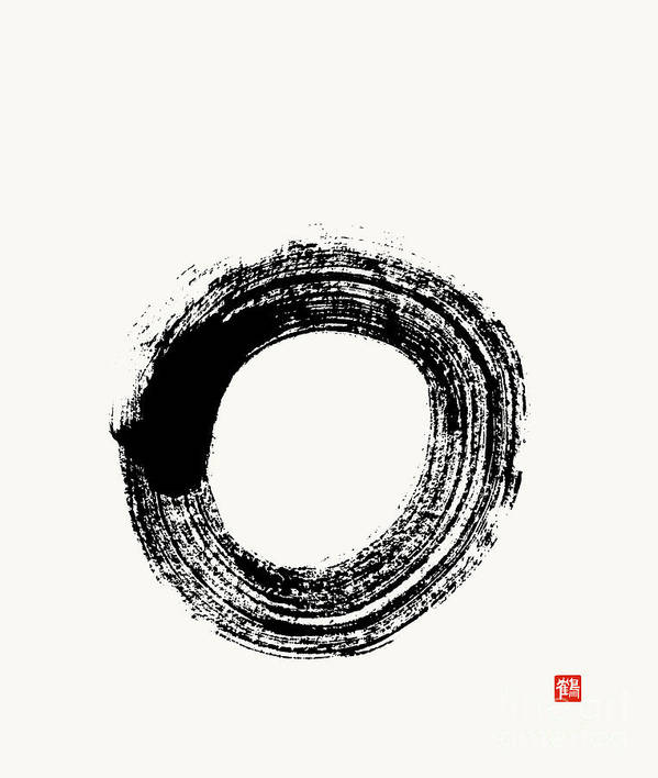 a98e09f81ab2c Enso Art Print featuring the painting Flying White Zen Enso Circle by Nadja  Van Ghelue