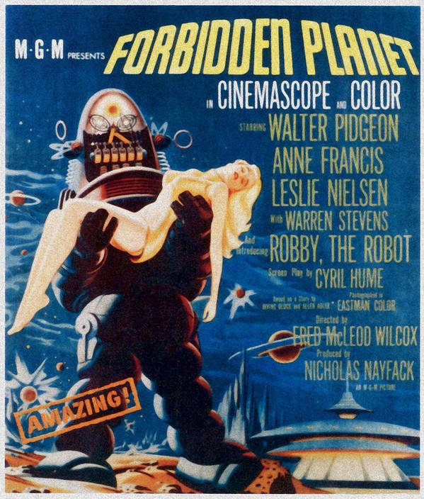 1950s Poster Art Art Print featuring the photograph Forbidden Planet, Left Robby The Robot by Everett