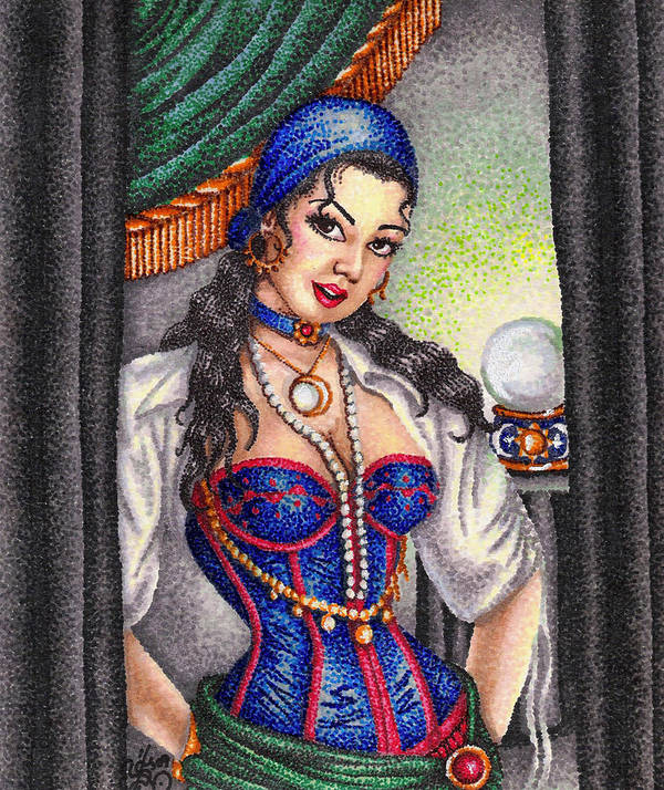 Woman Art Print featuring the drawing Fortune Teller by Scarlett Royal