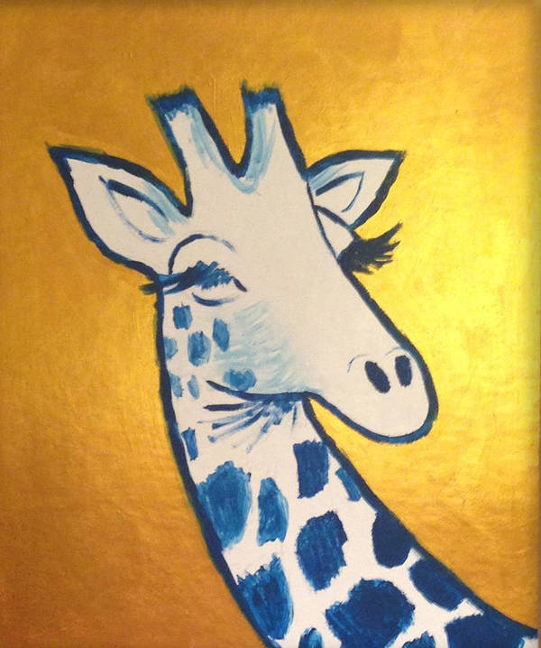 Giraffe Art Print featuring the painting Gold Giraffe by Courtney Moore
