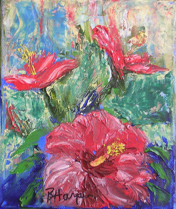 Hibiscus Art Print featuring the painting Hibiscus Abstract by Barbara Harper