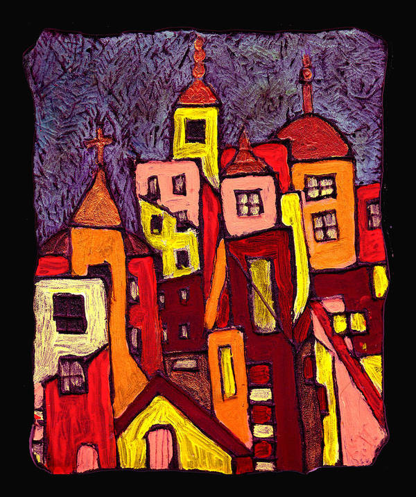 City Scapes Art Print featuring the painting Hot Night In The City by Wayne Potrafka
