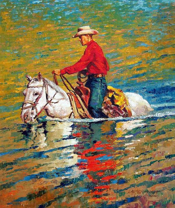 Cowboy Art Print featuring the painting In Deep Water by John Lautermilch