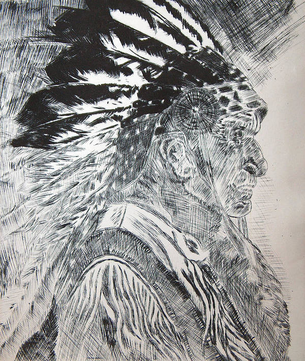 Indian Chief Native American People Faces Portraits Prints Ink Art Print featuring the relief Indian Etching Print by Lisa Stanley