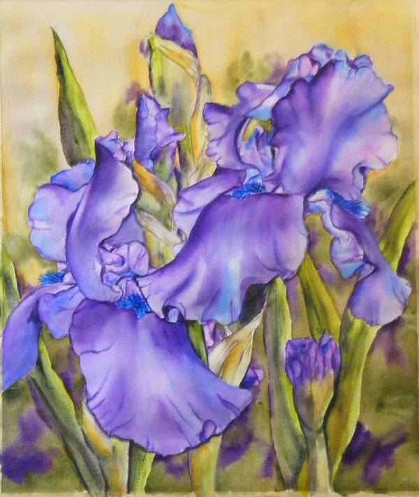 Art Print featuring the painting Iris In Purple by Diane Ziemski