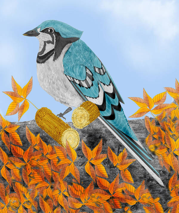 Jay Bird Art Print featuring the painting Jay With Corn And Leaves by Anne Norskog