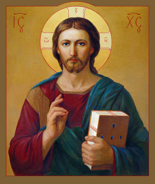 Art Print featuring the painting Jesus Christ Pantocrator by Svitozar Nenyuk