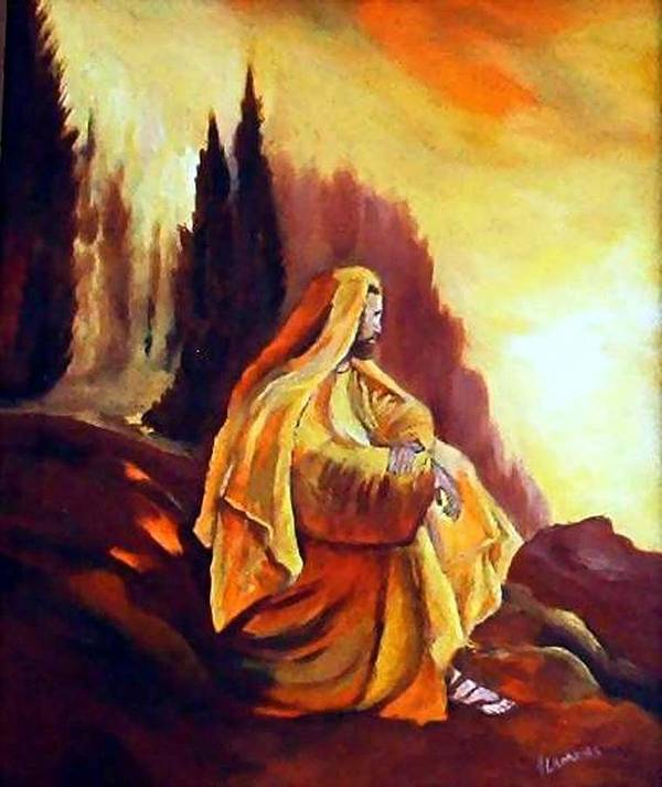 Figurative Art Print featuring the painting Jesus On The Mountain by Julie Lamons