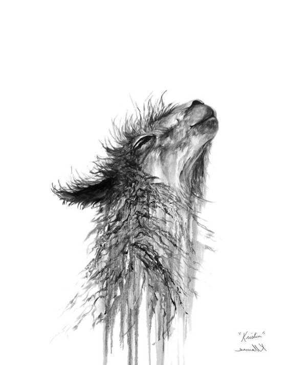Llama Art Art Print featuring the drawing Kristin by K Llamas