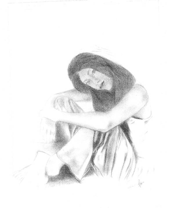 Art Print featuring the drawing Lonely by Reza Naqvi