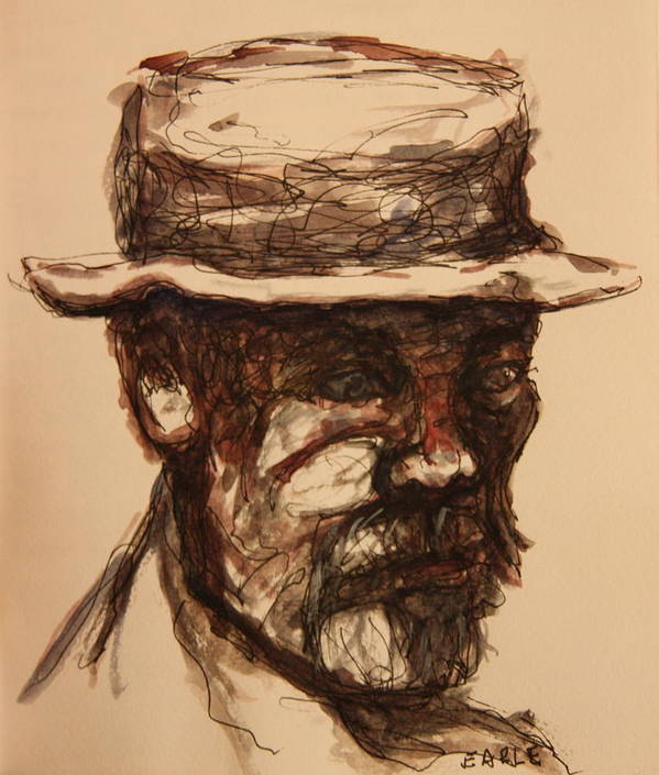 Portrait Art Print featuring the painting Man On A Park Bench by Dan Earle