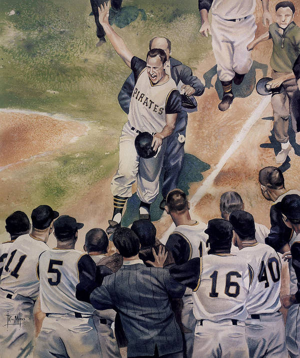 Baseball Print featuring the painting Maz by Rich Marks
