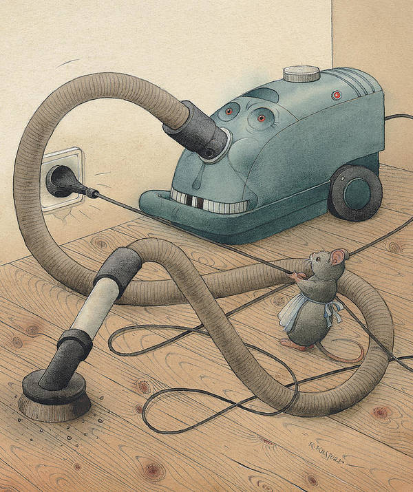 Mice Monster Vacuum-cleaner Brown Art Print featuring the painting Mice And Monster by Kestutis Kasparavicius