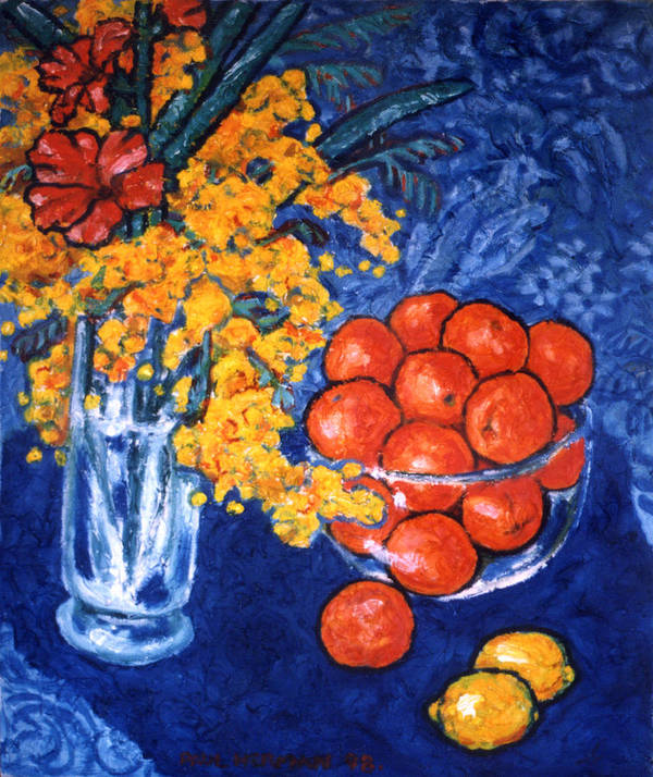 Still Life Art Print featuring the painting Mimosa And Tangerines by Paul Herman
