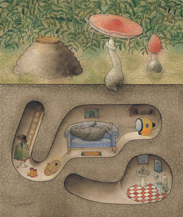 Underground Mole Cellar Tv Agaric Home Relaxation Art Print featuring the painting Mole by Kestutis Kasparavicius