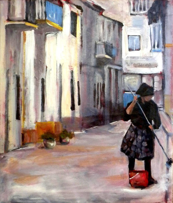 Portugal City Street Art Print featuring the painting Morning Cleaning by Paula Strother