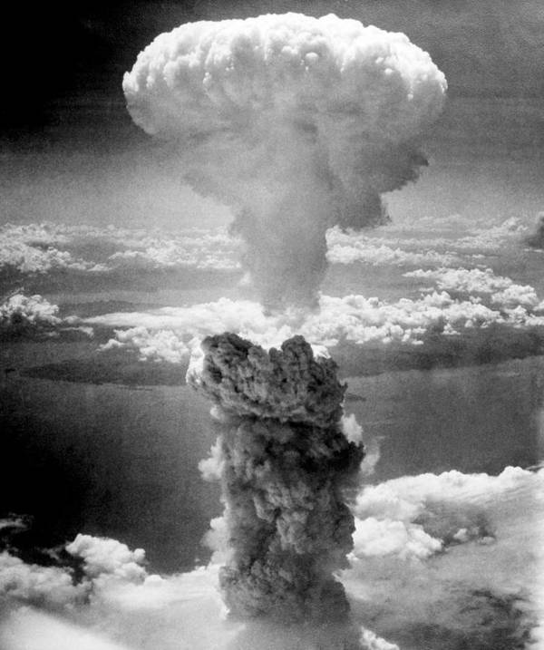 Atomic Bomb Art Print featuring the photograph Mushroom Cloud Over Nagasaki by War Is Hell Store